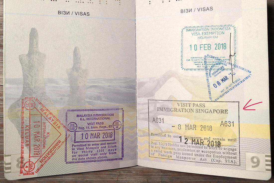 Штамп Транзитной визы в Сингапур